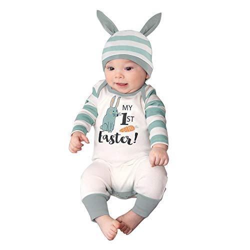 Ostern Romper Baby Overall Unisex Strampler Kleinkind Niedlich Ostern Hase Baby Mädchen Jungs Jumpsuit Langarm Kaninchen Drucken Spielanzug Baumwolle Ostern Bunny Romper Rabbit Kleidung Outfits