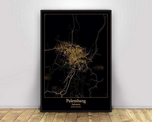 Prints Canvas, Palembang Indonesia Black&Gold City Light Maps Custom World City Map Posters Canvas Prints Nordic Style Wall Art Home Decor 40X60CM