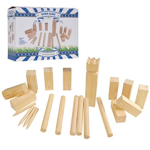 Kubb - Wurf-/Geschicklichkeitsspiel für Draußen - großes Kupp-Set aus Holz