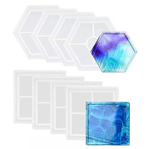 Chollap 8 Pack DIY Coaster Silicone Mold, Include 4 Pcs Square, 4 Pcs Hexagon for Casting with Resin, Concrete, Cement, Home Decoration…