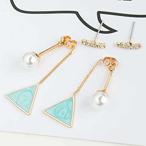 DFDLNL Orejeras para Mujer Pendientes Largos para Mujer Pendientes Triangulares de Perlas Pintura al óleo Forma geométrica Pendientes Colgantes Regalo Azul