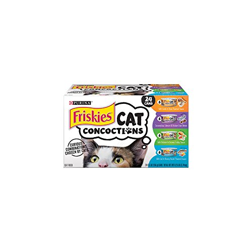 Purina Friskies Wet Cat Food Variety Pack; Cat Concoctions Lamb, Salmon & Liver, Chicken and Cod - (24) 5.5 oz. Cans