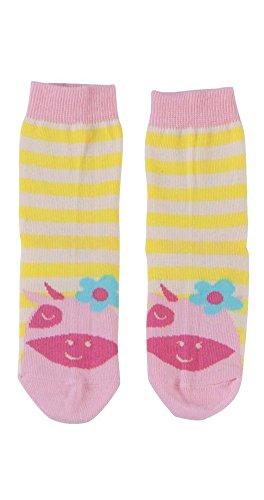 Piccalilly Bio-Baumwolle Rosa u. Gelb Mädchen Margerite Kuh Socken