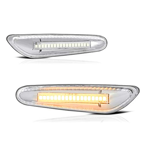 VIPMOTOZ Chrome Full LED Strip Side Marker Light Front Fender Turn Signal Lamp Assembly Replacement Pair For BMW E82 E88 E90 E91 E92 E93 E60 E61 E83, Driver & Passenger Side