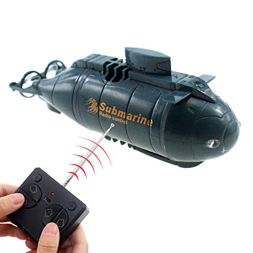 Tipmant Mini RC Nuclear Submarine Toy Radio Remote Control Boat Electric Dive Water Kids Gifts (Blue)