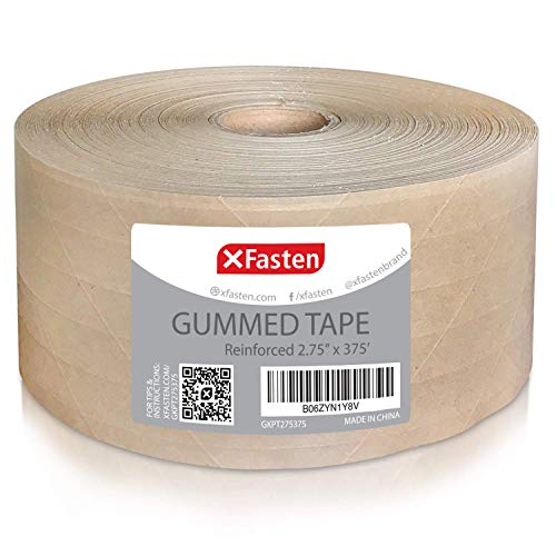 XFasten Reinforced Gummed Kraft Paper Packing Tape, 2.75 Inches x 375 Feet | Water Activated Brown Carton Box Packing and Sealing Tape for Mailing and Moving with Fiberglass Backing