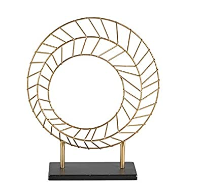 mymo Modern Gold Accent Round Geometric Metal Art Table Top Décor for Home and Office. Great Accent Decor for Any Tables in The Living Room, Family Room, Entry Way, and Great Decor for Shelves.