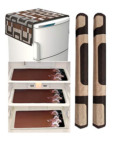 Factcore Combo of Designer Refrigerator Cover(Brown Box), 2 Handle Cover (Brown Box) and 3 Fridge Mats (Printed Brown B) Standard Size; -Set of 6 Pieces