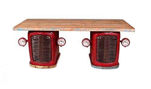 Sit Möbel Traktor - Schreibtisch, This & That, Altmetall Lackiert, Altholz, Rot-bunt, Innen je 1 Boden