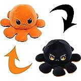 CJRNBU Pulpo Reversible, Peluche Pulpo Reversible Puede Expresar Emociones y Aliviar el Estrés, Peluches Bonitos Pulpo Juguete por Juguetes de los Niños (Naranja Negro)