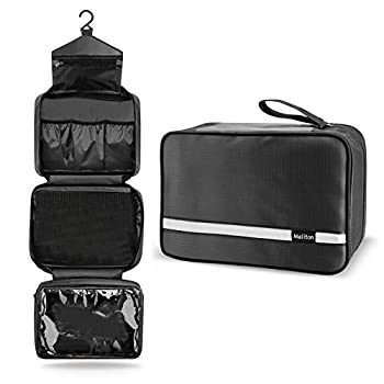 Toiletry Bag for Men & Women   Large Toiletry Bags for Traveling   Hanging Compact Hygiene Bag with 4 Compartments   Waterproof Bathroom Shower Bag  Black