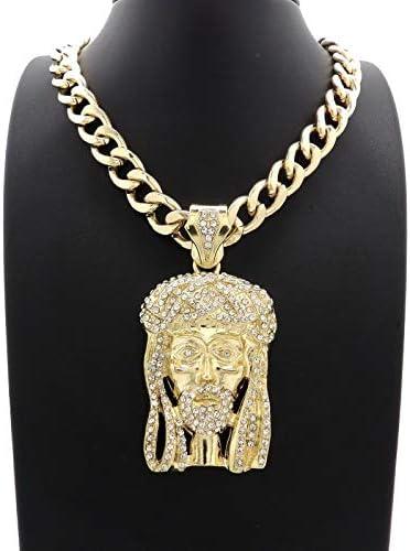 BLINGFACTORY ICED Hip HOP Jesus Head Pendant 11mm 20 Cuban Choker Chain Necklace product image