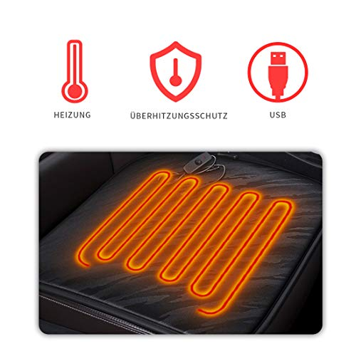 Cihely Cojín calefactor para asiento de coche, 12 V, térmico, control de temperatura constante, universal, color negro