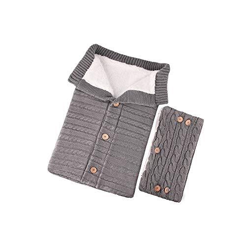Babyschlafsack Befitery Gestrickt Baby Einschlagdecke Wickeln Kinderwagen Schlafsack Handschuhen Set aus Lammwolle mit Knöpfen für 0-12 Monat Baby(Grau)