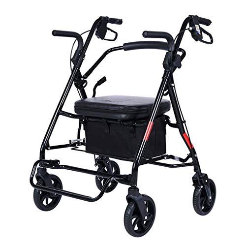 Carro Rodante Ligero Andador Rollator De Acero Plegable 3 Velocidades Ajustables con Asiento Y Ruedas, para Personas Mayores Y Adultos