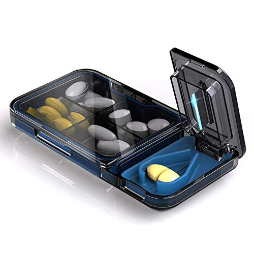 BANGSUN Pastillero portátil, organizador de suplementos de medicina diaria, material Bpa de alta calidad, color negro 2 1