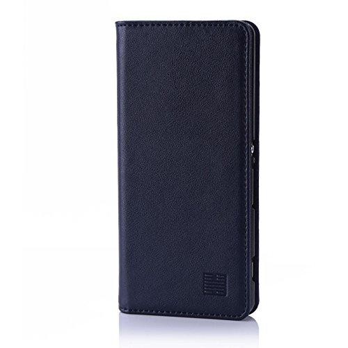 32nd Klassische Series - Lederhülle Hülle Cover für Sony Xperia XA, Echtleder Hülle Entwurf gemacht Mit Kartensteckplatz, Magnetisch & Standfuß - Marineblau