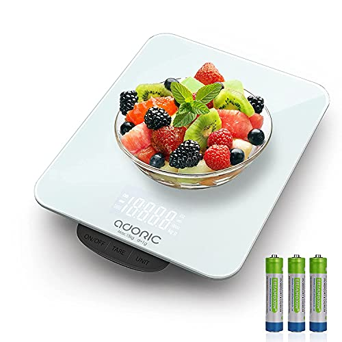 ADORIC Báscula Digital para Cocina de Acero Inoxidable, 15kg / 33 lbs, Balanza de Alimentos Multifuncional, Peso de Cocina, Color Plata (Baterías Incluidas)