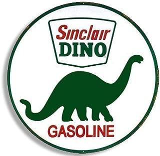 GHaynes Distributing Round Vintage SINCLAIR DINO Gas Sticker Decal (gasoline logo old rat rod) 4 x 4 inch