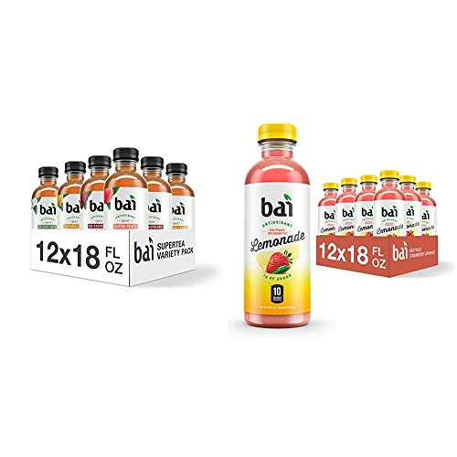 Bai Iced Tea, Crafted with Black Tea and White Tea, 18 Fluid Ounce Bottles, 12 count & Flavored Water, So Paulo Strawberry Lemonade, Antioxidant Infused Drinks, 18 Fluid Ounce Bottles, 12 Count