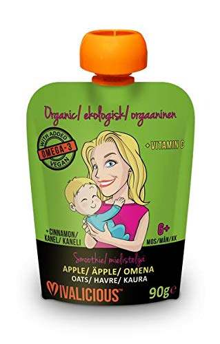 Organic Baby Smoothie - (Added Vegan Omega-3) (Apple/Cinnamon with Oats) (with Added Vegan Omega-3) Vegetarian - Stage Two - 90g Pouch (Pack of 6 Pouches) from 6 Months +
