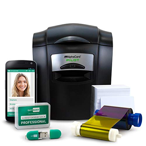 Complete ID Card Printer Bundle: AlphaCard Pilot ID Printer, EasyBadge ID Software & Mobile App, ID Supplies - 100 Premium Printable Cards
