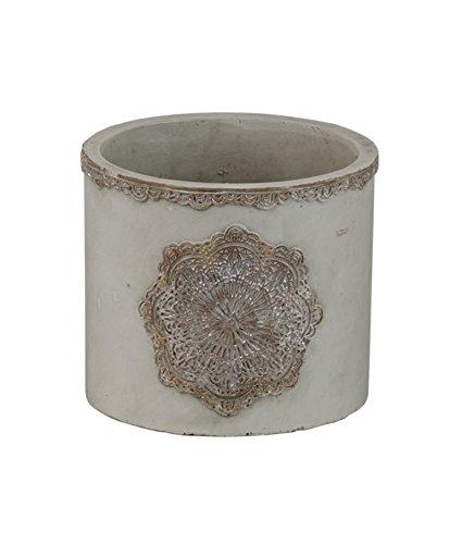Kübel Mandala Ornament Gris Béton cremebraun 12 x 10,5 cm