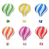 Famgee 12 inch Hanging Hot Air Balloon Paper Lanterns Set Decoration Birthday Wedding Christmas Party Decor Gift Set Stripe Style Pack of 6