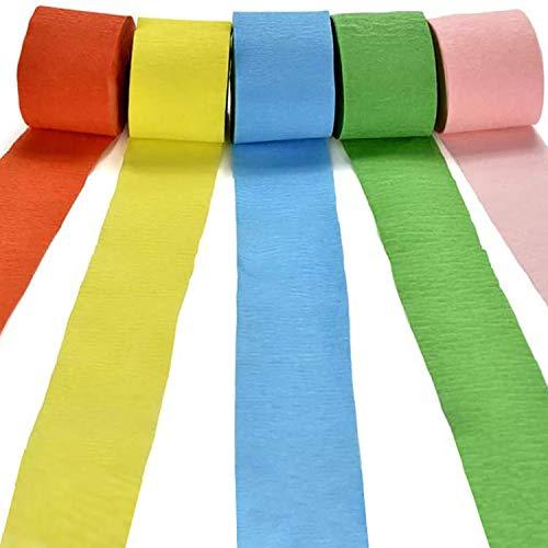 Papel crepé multicolor de longyisound (5 unidades), 5 colores para manualidades, para cumpleaños, bodas, DIY, decoración de fiestas y otras decoraciones, 10 m x 4,5 cm