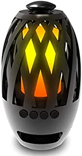 KJRJLY Tandem Flame Light Bluetooth Speaker Portable Firefly Atmosphere Light Wireless Card Speaker