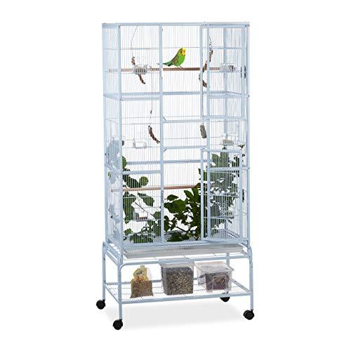 Relaxdays voliera per Uccelli XL su Ruote, Gabbia per Uccelli, per pappagalli, Uccelli canarini, 2 sgabelli, 180 x 80 x 50 cm, Grigio Chiaro