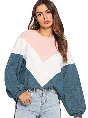 DIDK Mujer Sudaderas Sin Capucha Manga Larga, Camiseta Cuello Redondo de Chevron con Costura
