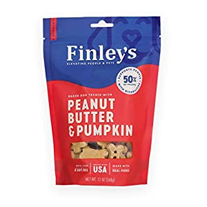 Finley's Peanut Butter & Pumpkin Dog Biscuits Treats for Dogs Made in USA | Natural Peanut Butter & Pumpkin Dog Treats | Wheat Free Dog Treats | Healthy Dog Treat Bags (12 oz)
