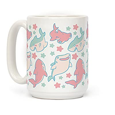 LookHUMAN Happy Shark Pattern White 15 Ounce Ceramic Coffee Mug