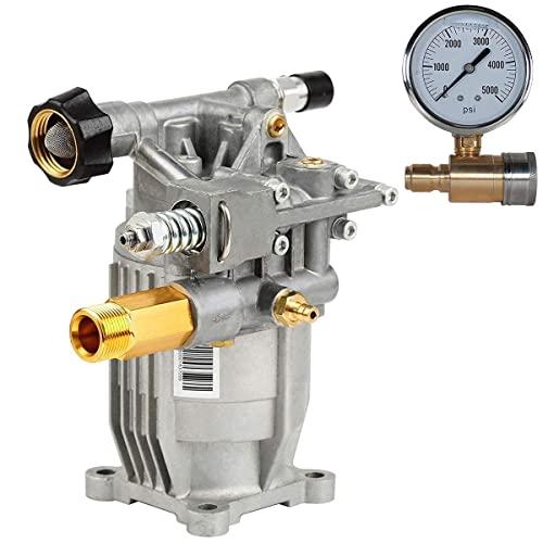 "YAMATIC 3/4"" Shaft Horizontal Pump 3000 PSI with Pressure Washer Gauge"