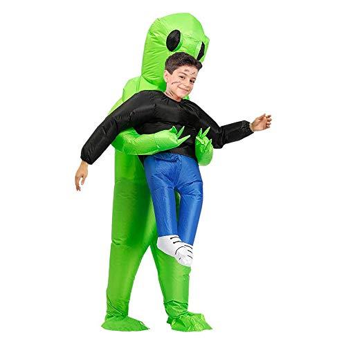 GXZOCK Disfraz hinchable de Alien, disfraz de Halloween, color verde, disfraz de Carry Me para hombre, disfraz cosplay, disfraz de Halloween, fiesta, joya de mesa, casa y jardn (nios)