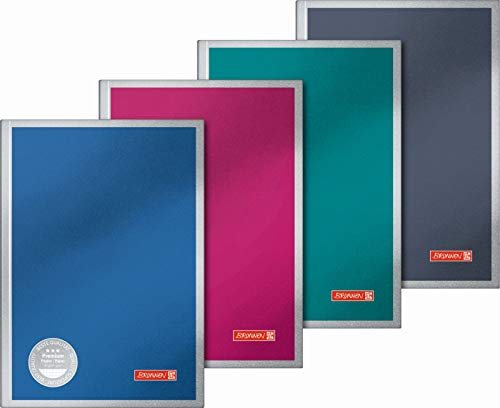 Brunnen 105598202 Notizbuch Vivendi (Hardcover, A5, kariert, 192 Seiten) 1 Stück, farbig sortiert in rot, blau, grün oder schwarz