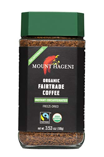Mount Hagen Organic Freeze Dried Instant Decaf Coffee, 3.53 oz Organic FairTrade Award-Winning House Blend Kosher Decaffeinated