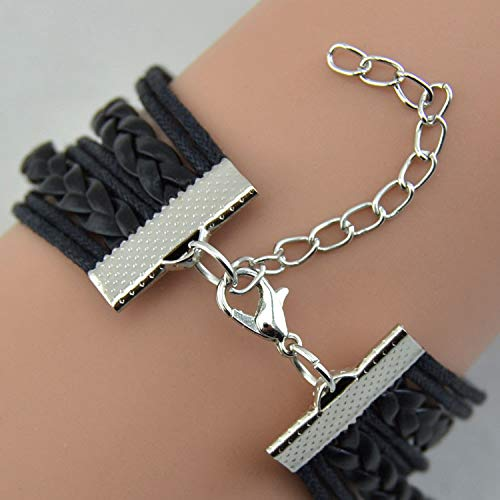 AQ89 Vintage Bronze Double Heart One Direction Rope Leather Bracelet BK, Bracelets, Jewelry & Watches (Black)
