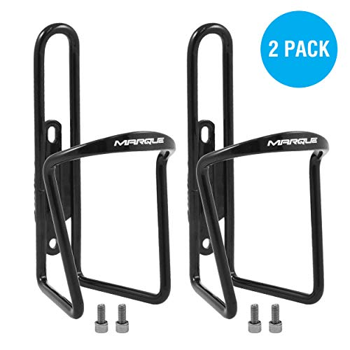 MARQUE Classic Bike Water Bottle Holder - Aluminum Alloy Bicycle Water Bottle Cage for All Types of Bikes, Fits Most Road Cycling and Mountain Bike, Easy to Install and Use (Black) (2 Pack)