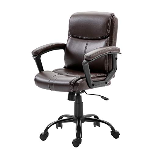 KERMS Mid-Back Home Office Chair for People of Small Stature, Ergonomic Swivel Computer Desk Chair with Height Adjustment and Metal Base (Brown)