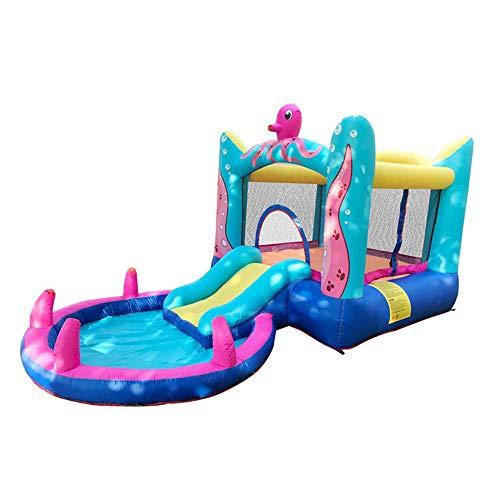 Wzz Jardín Familiar Octopus Bounce House-Castillo Inflable Saltador Tobogán De Agua Juguetes Acuáticos para Niños con Soplador De Aire