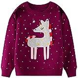 Maglione da bambina a maniche lunghe con giraffa, taglia 92-122 5 unicorno rosso. 6 anni