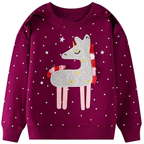 CM-Kid Pullover Mädchen Baumwolle Langarm Rundhals T-Shirt Kinder Sweatshirt Top Frühling Herbst Winter Einhorn Sternchen Weinrot 92