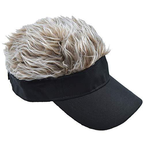 CNF CO Hair Sun Visor Cap Adjustable Baseball Hat with Spiked Hair, Brown