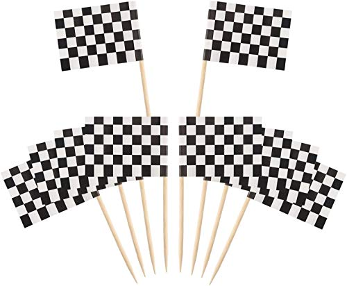 Nv Wang Picks Flags,Party Cupcake Picks Zahnstocher,100 Packung Checkered Racing Flagge Party Cupcake Picks Zahnstocher Flagge Abendessen Flaggen Kuchen Topper Dekorationen