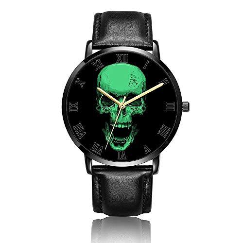 Montre Analogique Montres Bracelet de Entreprise Décontractée PU Leather Strap Watches Crâne Qui rit
