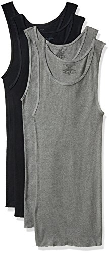 Fruit of the Loom Men's Premium A-Shirt (Pack of 4) Assorted, Black/Gray, Large
