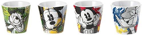 Disney - PWM83/4P - Lot de 4 Petits Verres à café Motif Mickey et Minnie