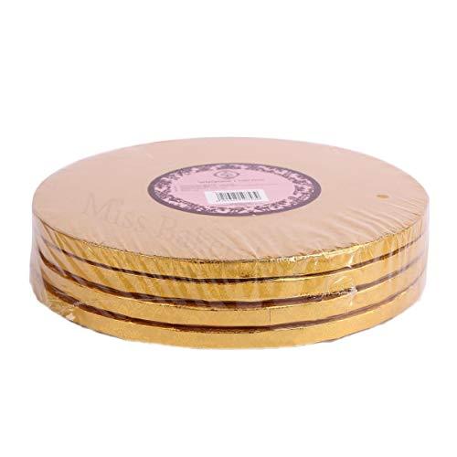 Miss Bakery's House® Cake Drum - 12 mm - Ø 34 cm - Gold - 4 Stück - Tortenunterlage